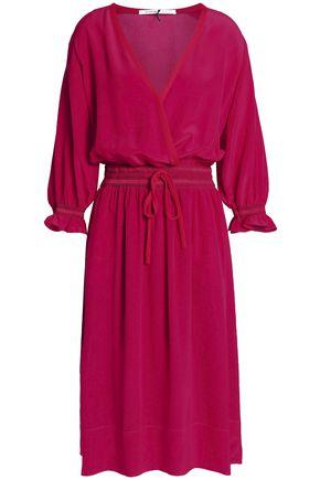 AGNONA Wrap-effect gathered silk crepe de chine dress