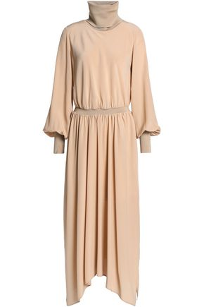 AGNONA Draped silk crepe de chine turtleneck midi dress