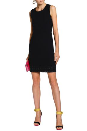 EMILIO PUCCI Eyelet-embellished stretch-wool crepe mini dress