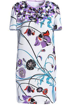 EMILIO PUCCI Embellished floral-print cotton-blend faille mini dress