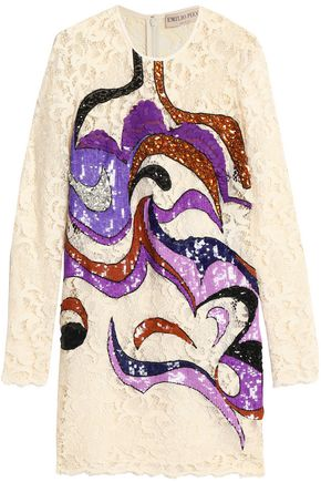 EMILIO PUCCI Embellished silk-blend corded lace mini dress
