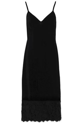 AGNONA Lace-trimmed velvet slip dress