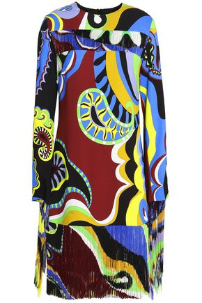 EMILIO PUCCI Fringed printed crepe dress