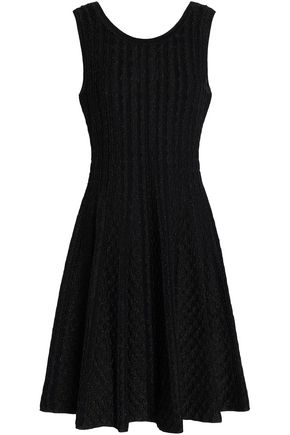 SANDRO Pointelle-trimmed metallic knitted dress