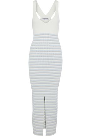 OPENING CEREMONY Split-front striped ribbed-knit midi dress