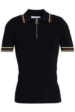 SANDRO Ribbed stretch-knit polo shirt