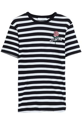 SANDRO Embroidered striped cotton-jersey T-shirt