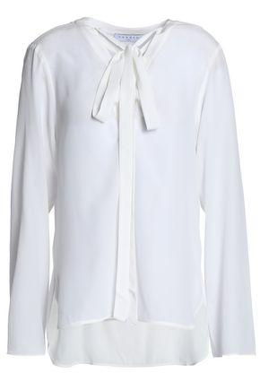SANDRO Cleo lace-up silk crepe de chine blouse