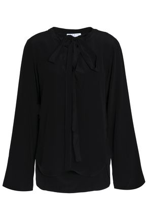 SANDRO Bow-detailed silk crepe de chine blouse