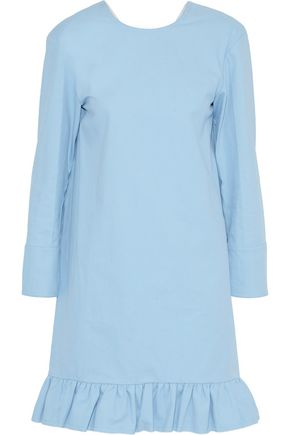 MARNI Ruffle-trimmed twill mini dress