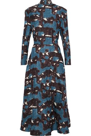 MARNI Printed silk-faille midi dress