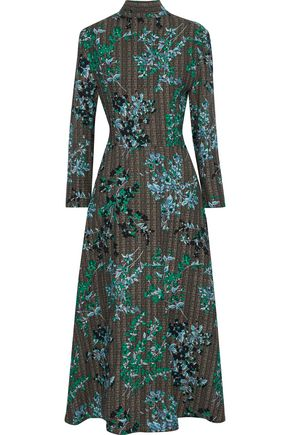 MARNI Open-back printed wool and silk-blend faille midi dress