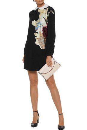 VALENTINO Printed satin-appliquéd wool-crepe mini dress