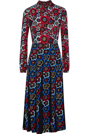 VALENTINO Pleated floral-print silk-crepe midi dress