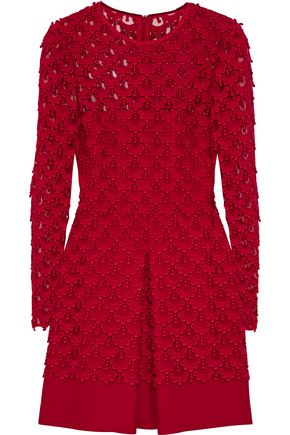 VALENTINO Layered crochet and cotton-blend crepe mini dress
