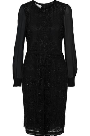 VALENTINO GARAVANI Georgette-paneled beaded tulle playsuit