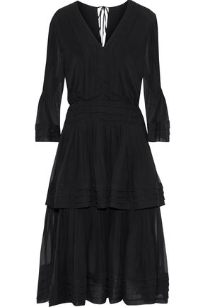 CAROLINA HERRERA Tiered pintucked silk-chiffon midi dress