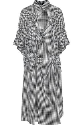 SIMONE ROCHA Ruched gingham cotton-poplin midi dress