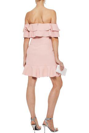 RACHEL ZOE Tracy off-the-shoulder ruffled crepe mini dress