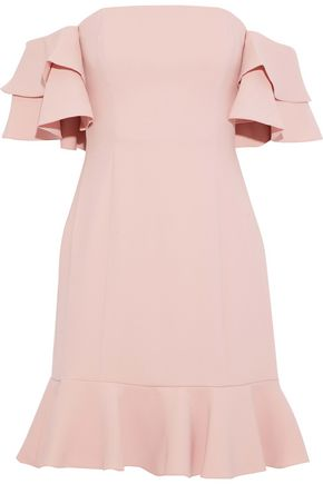 RACHEL ZOE Tracy off-the-shoulder ruffled crepe mini dress