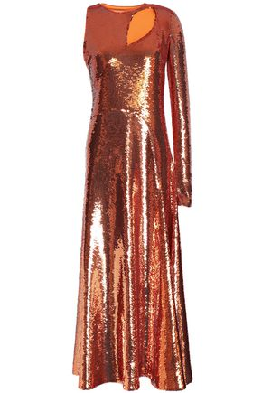 EMILIO PUCCI Cutout sequined silk-blend georgette midi dress