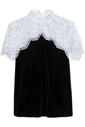 SANDRO Corded lace-paneled velvet top