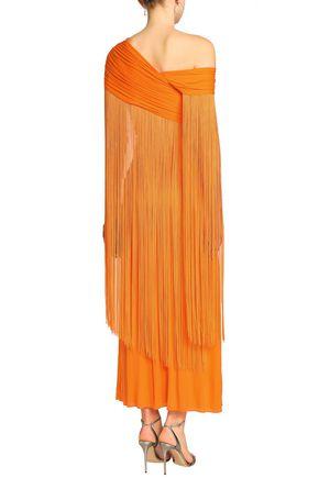 EMILIO PUCCI Fringe-trimmed gathered jersey maxi dress