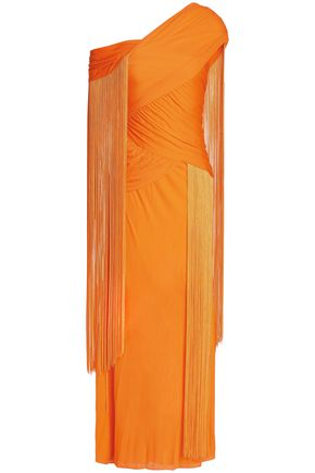 EMILIO PUCCI Fringe-trimmed gathered jersey maxi dress