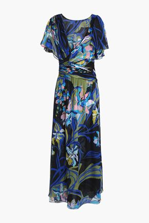 EMILIO PUCCI Wrap-effect printed silk-chiffon midi dress