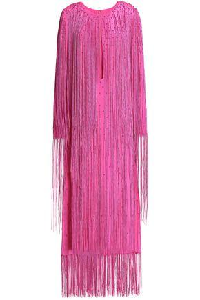 EMILIO PUCCI Fringed cutout silk-crepe midi dress