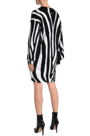 EMILIO PUCCI Zebra-print angora-blend mini dress