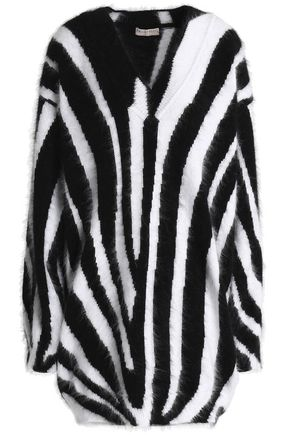 EMILIO PUCCI Zebra-print angora-blend mini dress