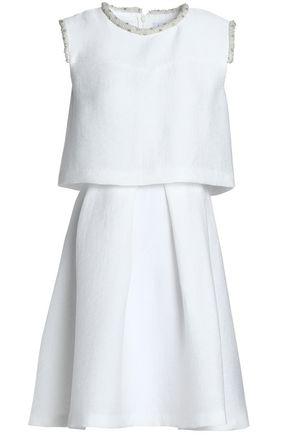 SANDRO Embellished plissé woven mini dress