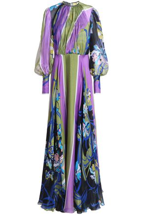 EMILIO PUCCI Gathered printed silk-chiffon gown