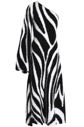 EMILIO PUCCI One-shoulder intarsia angora-blend midi dress