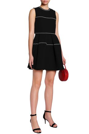 SANDRO Faux pearl-embellished cady mini dress