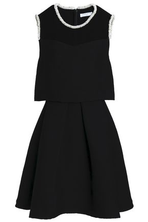 SANDRO Embellished tulle and crepe mini dress