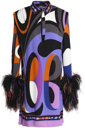 EMILIO PUCCI Feather-trimmed printed jersey mini dress