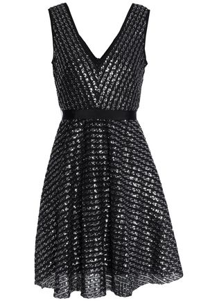 SANDRO Flared sequined knitted mini dress