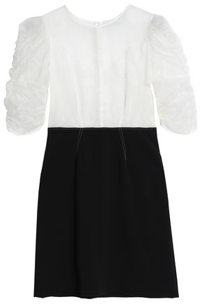 SANDRO Ruched silk-organza, corded lace and ponte mini dress