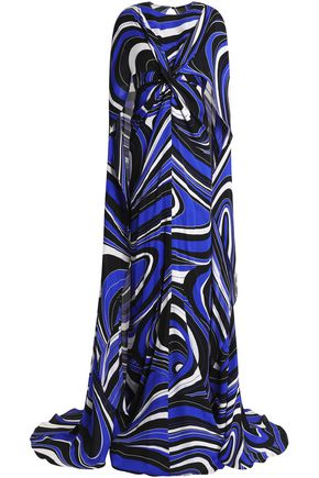 EMILIO PUCCI Cape-effect printed silk maxi dress