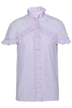 SANDRO Ruffle-trimmed cotton-poplin shirt