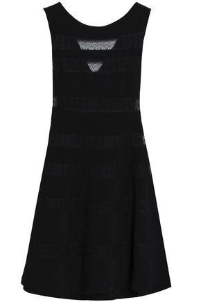 SANDRO Lace-trimmed crepe mini dress