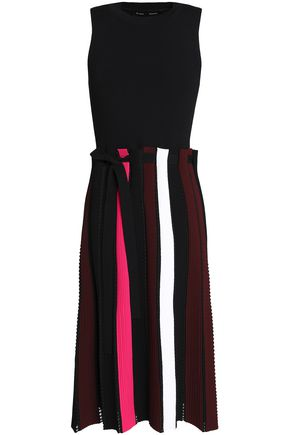 PROENZA SCHOULER Pleated striped ribbed-knit dress