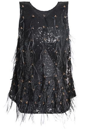 KOCHÉ Sequin, bead and feather-embellished tulle top