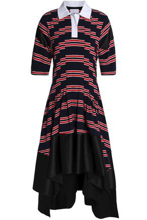 KOCHÉ Striped paneled cotton-blend satin and jersey dress