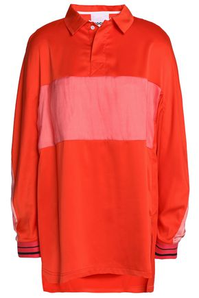 KOCHÉ Oversized cape-effect taffeta-paneled piqué polo shirt