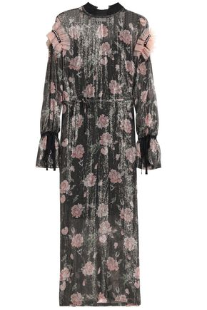 MOTHER OF PEARL Lam�-trimmed floral-print georgette midi dress