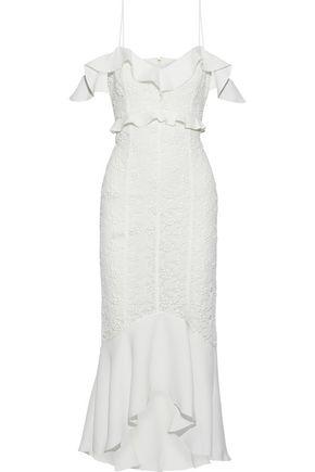 RACHEL ZOE Chloe cold-shoulder crepe-paneled cotton guipure lace midi dress