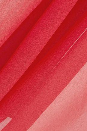 HAUTE HIPPIE Asymmetric draped silk-chiffon top